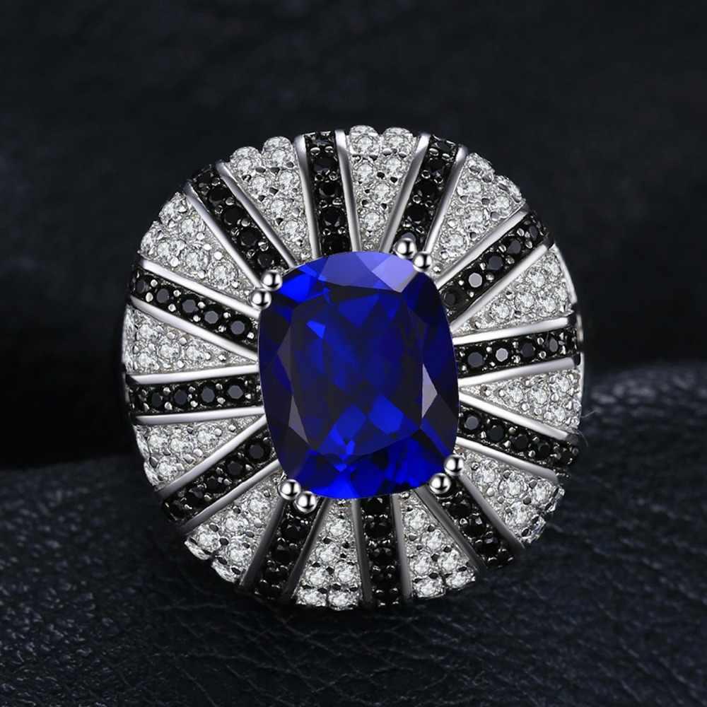 JewelryPalace Luxury 3.9ct สร้าง Sapphire ธรรมชาติสีดำ Spinel ค็อกเทลแหวนเงิน 925 เครื่องประดับสำหรับผู้หญิงแฟชั่น
