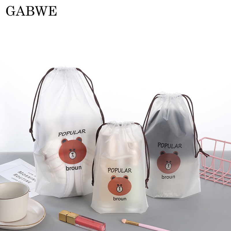 GABWE Transparent Brown Bear Cosmetic Bags Travel Makeup Case Women Make Up Bath Organizer Storage Pouch Toiletry Wash Beaut Kit