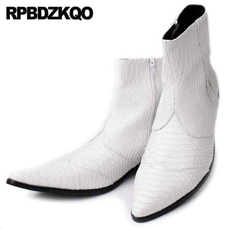 Mens Zipper Dress Boots Ankle White