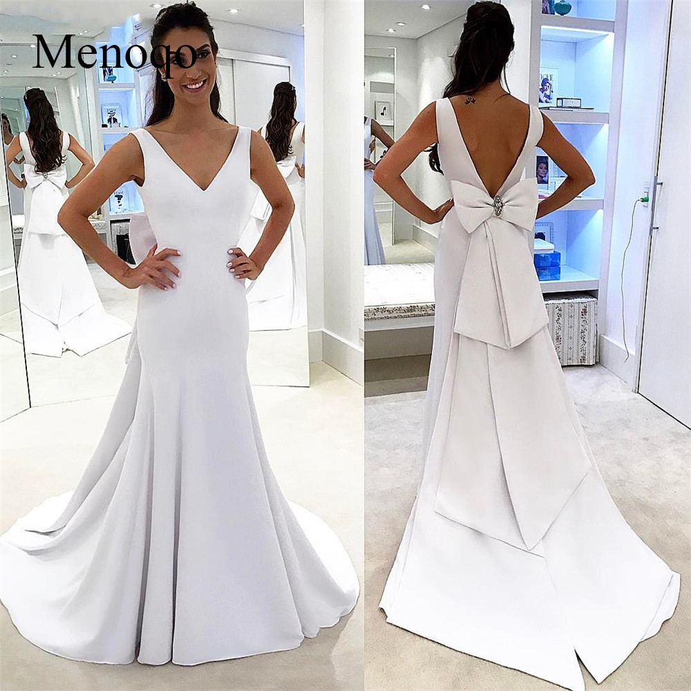 2019 New White Mermaid Satin Evening Dress Backless V Neck Big Bow Charming Special Occasion Dresses