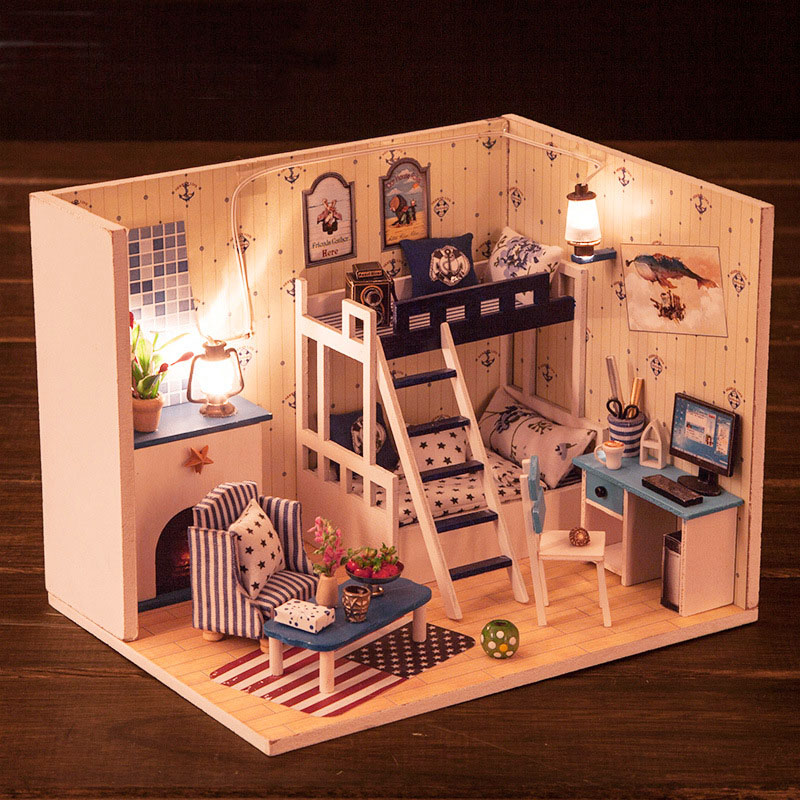 Miniature Star Sky Dream Dollhouse Furniture Kits DIY Wooden Room Model Dolls House LED Lights Toys For Kids Birthday Xmas Gift