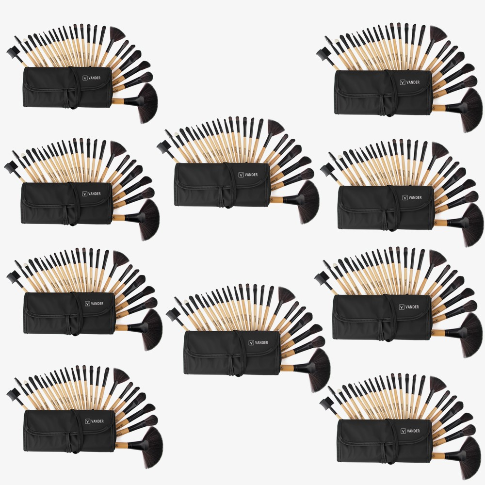 Wholesale 10lots 24Pcs Set Pro Makeup Brush Foundation Facial Powder Blusher Cosmetic Make Up Brushes Tools Pincel Maquiagem vander 32pcs set professional makeup brush foundation eye shadows lipsticks powder make up brushes tools w bag pincel maquiagem