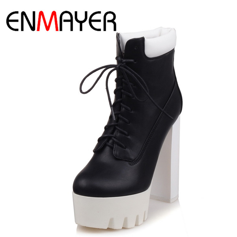 ФОТО ENMAYER Lace-up Shoes Woman High Heels Platform Shoes Winter Boots Round Toe White Shoes Large Size 34-43 Ankle Boots for Women