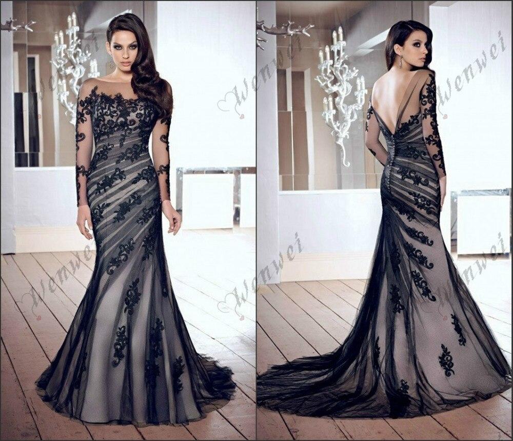 2014 new style long sleeve black backless dresses wedding for Wedding dress free shipping