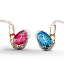 SHOZY & NEO CP czerwono niebieski 3BA potrójny sterownik hybrydowy HIFI douszne słuchawki z mmcx odłączany kabel IEM Knowles