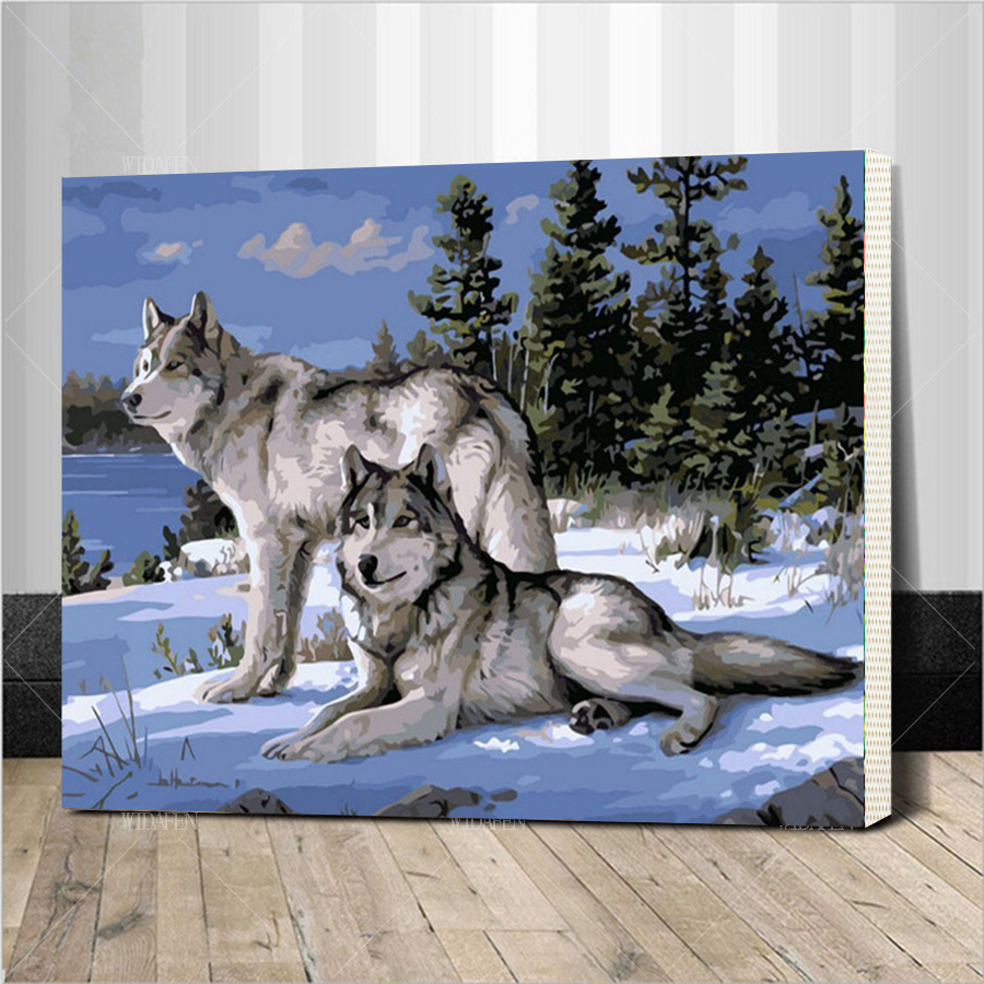 Frame Wolf Animals DIY Painting By Numbers Kits Paint On Canvas Acrylic Coloring Painitng For Home Wall Decor