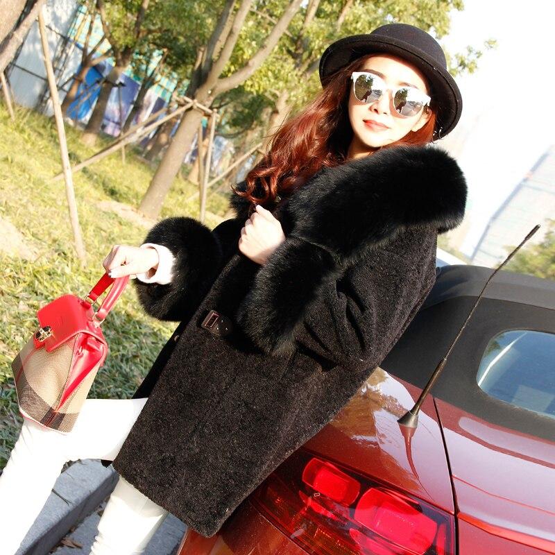 Chaud black À Manteau D'hiver grey Cachemire Veste Épais Réel Longue Laine Femelle Mode Tranchée Femmes Dames De Renard Pour En Capuchon Pink Fourrure qBgAxa8