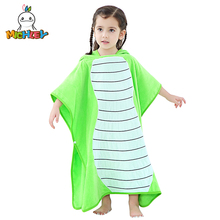MICHLEY Baby Cotton Beach Sunscreen Poncho Children Cute Hooded Cartoon Cloak Animal Print Soft Shower Bath Towel Pajamas