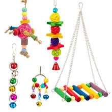 Bird Pet Bird Toy Bell Swing Bird Cage Pendant Toys For Parakeet Parrots Bridge Parrots Pet 5PC Combination Suit(China)