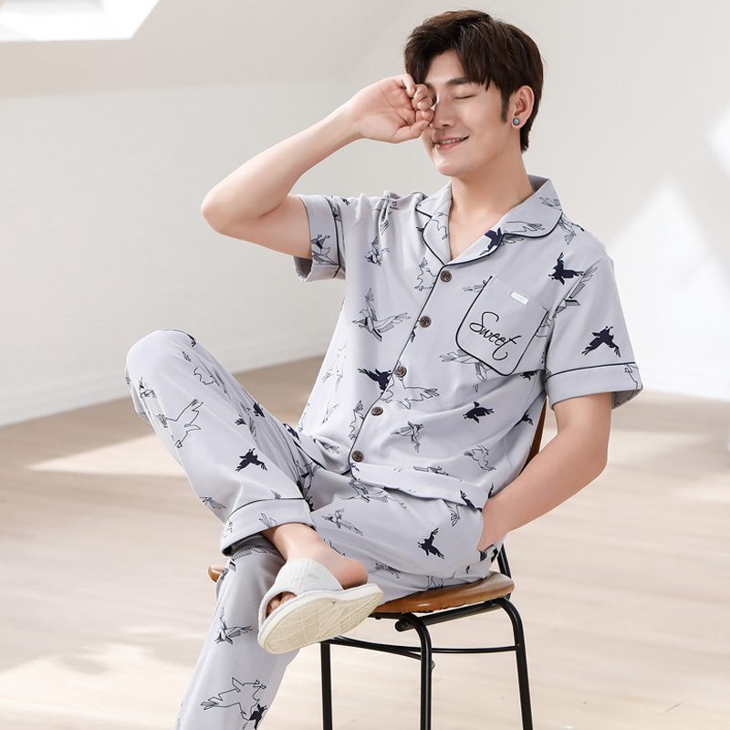 Men's Pajamas Spring Summer Short Sleeve Home Wear Thin Cotton Print Pyjamas Men Lounge Pajama Sets Plus Size 3XL Sleepwear Set