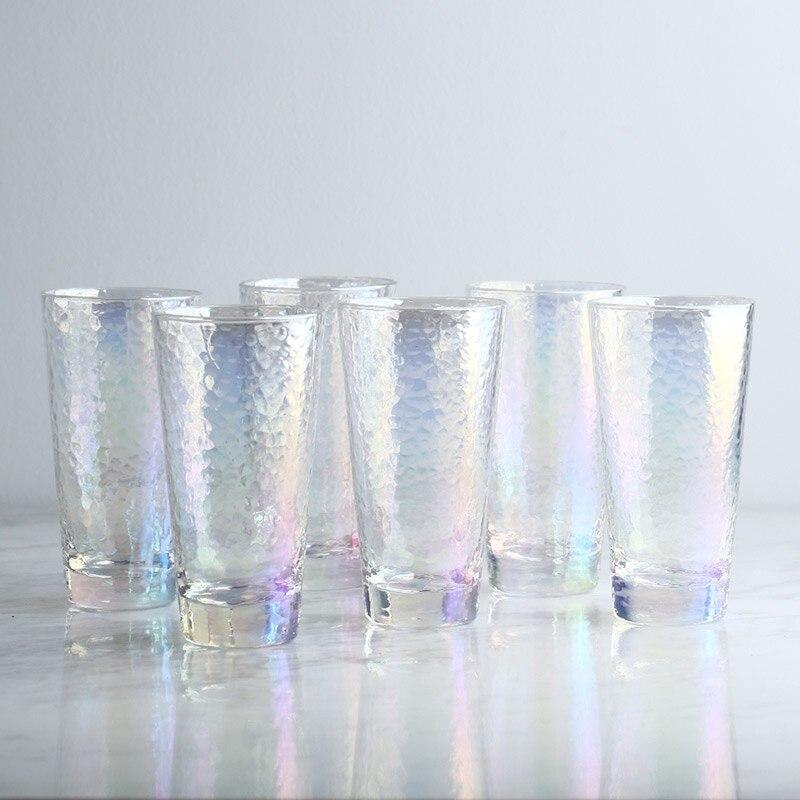 6 pièces/ensemble Europe Ion plaqué marteau verre tasses sans plomb verre vin tasses rond jus tasse haute capacité eau tasse partie boisson