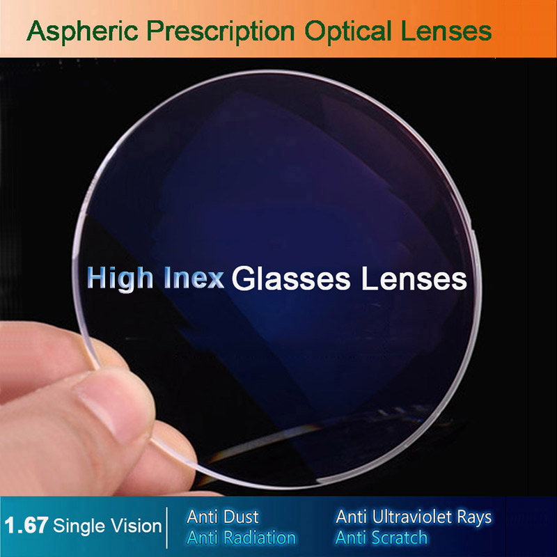 1.67 Single Vision Optical Glasses Prescription Lenses For Myopia/Hyperopia/Presbyopia Eyeglasses CR-39 Resin Lens With Coating