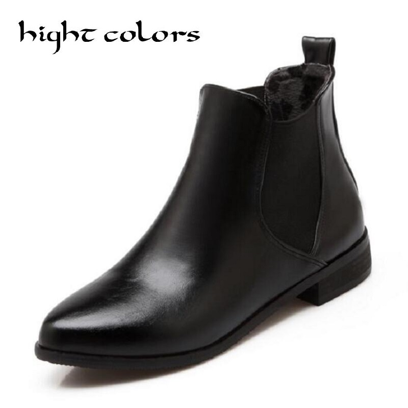 Zapatos Mujer Pointed Toe Martin Boots Women Shoes Chunky Heel Chelsea Boots Leather Fashion Ladies New Sexy Shoes Woman Flats euro fashion women winter botas mujer genuine leather martin mou boots shoes woman pointed toe low heels zapatos mujer huarache