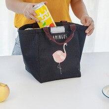 Junejour sac à déjeuner en néoprène pour enfants école étanche boîte à déjeuner Flamingo Portable sac à déjeuner fourre tout sac à main récipient alimentaire