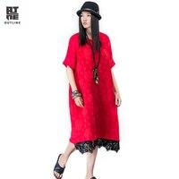 Outline Brand National Trend Dress Original Design Loose Maxi Solid Dress Spring Summer Cotton Linen Women