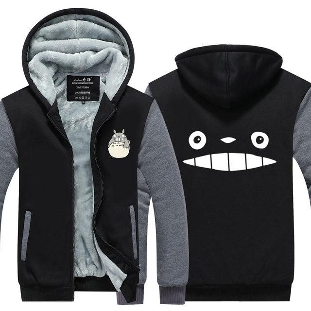 Totoro Long Sleeve Thicken Zipper Sweatshirts Hoodie
