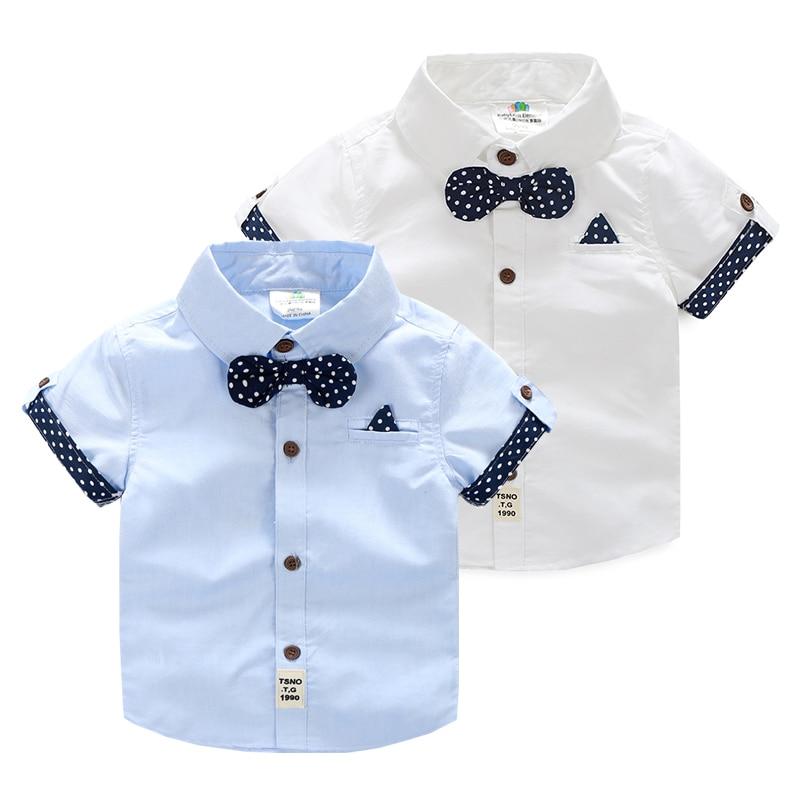 7236fb8efc2db 2019 Summer Male Children'S Clothing Baby Child Kids Boy Cotton  Short-Sleeve child Dots Bow Tie Shirt