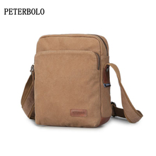 PETERBOLO Vintage Men Canvas Messenger Bag 2017 Summer New Man Shoulder FashionZipper Flap Retro Crossbody