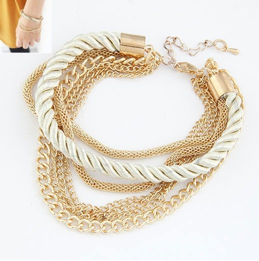 Free Shipping Bohemian Temperament Woven Gold plated Chain Braided Rope Multilayer Bracelet Women Jewelry Accessories