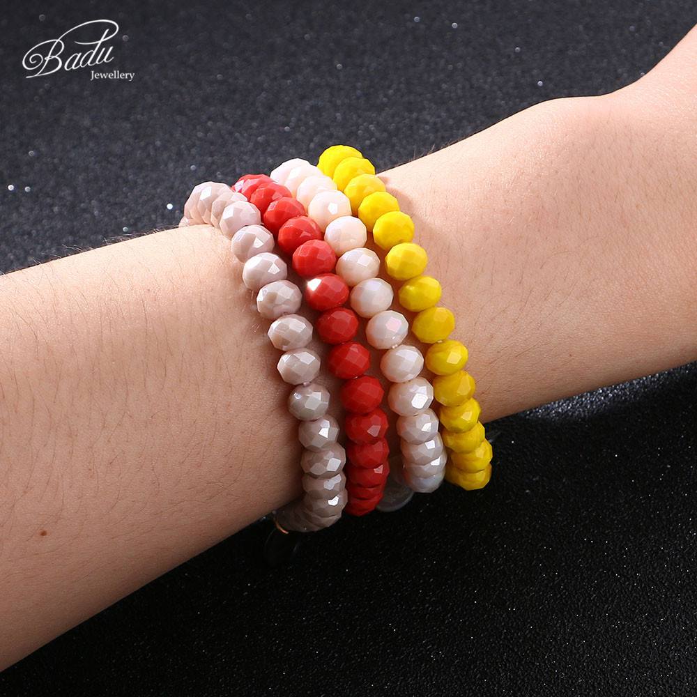Badu 8mm Crystal Beads Bracelet for Women Faceted Crystals Fashion Charms Jewelry Friendship Bracelets Adjustable Wholesale