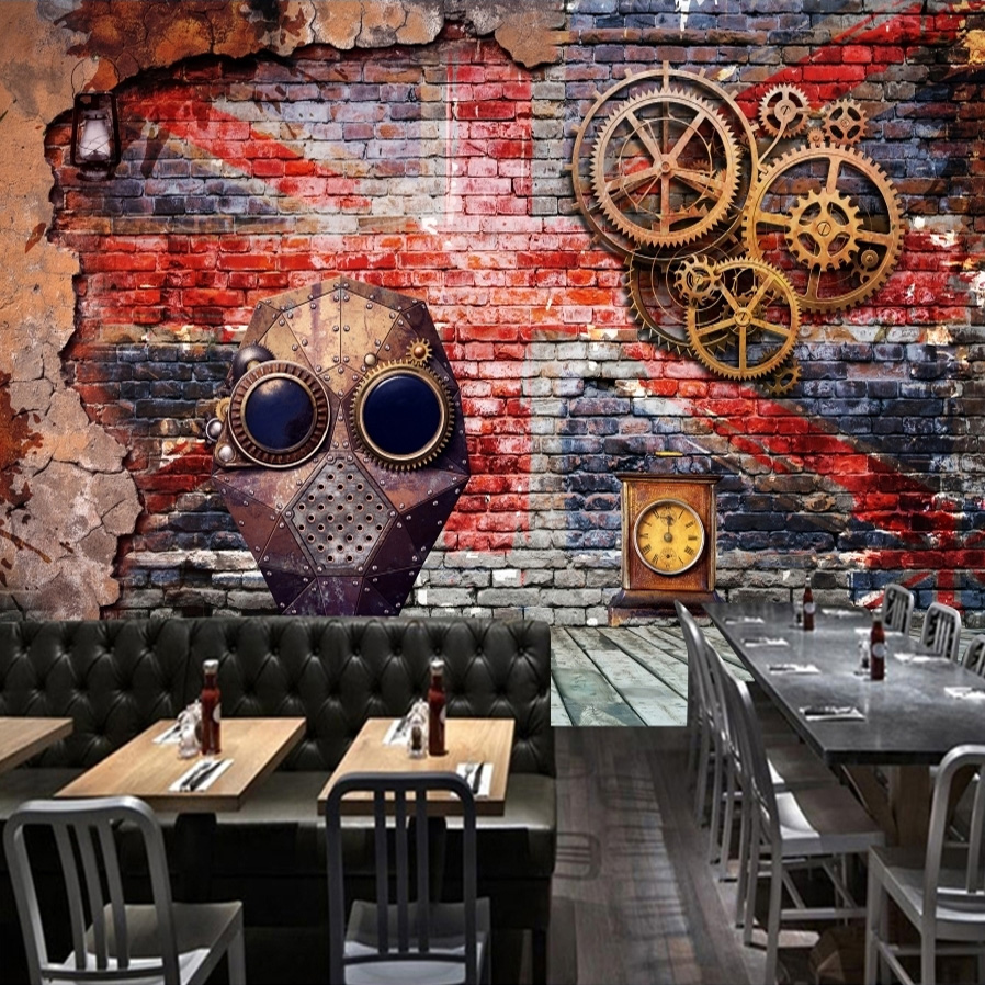 Graffiti wall painting - Custom Wallpaper Murals 3d Retro Nostalgia European Style Graffiti Art Bar Restaurant Wall Decor Wall Mural