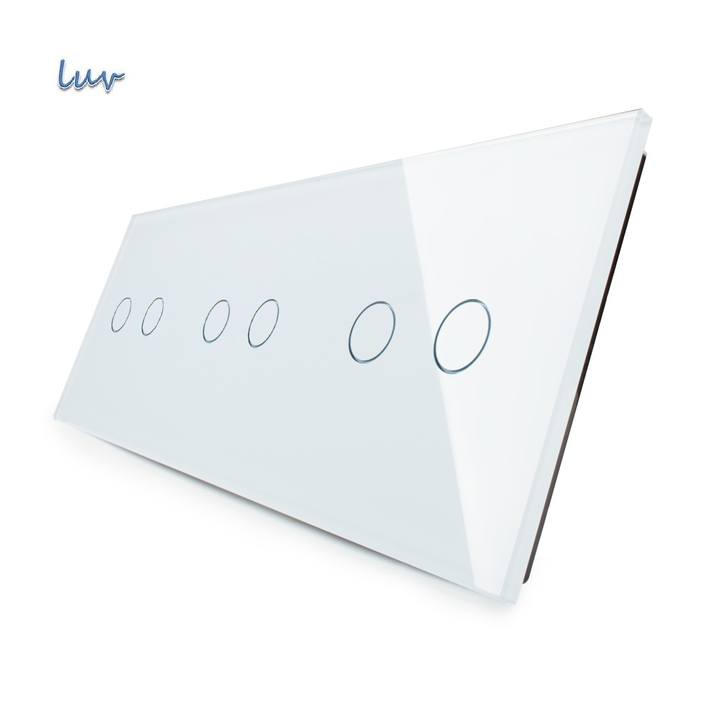 Luxury White Pearl Crystal Glass For DIY Switch,223mm*80mm, EU standard, Triple Glass Panel,VL-C7-C2/C2/C2-11 free shipping livolo luxury black crystal glass 223mm 80mm eu standard 1gang
