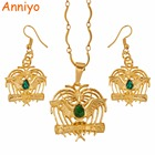 Anniyo Gold Color Bird of Paradise Pendant Necklaces/Earrings With Green Stone,Papua New Guinea Jewelry PNG Style Gifts #096106