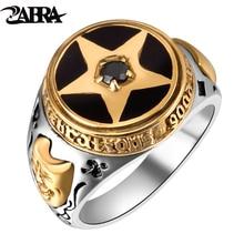 زبرا أولد سيلفرسميث 925 الفضة حلية التايلاندية الفضة الخماسي الأسود الزركون خاتم فضة استعادة طرق القديمة خواتم الرجال
