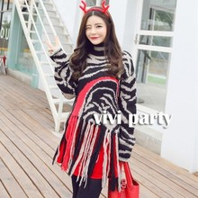 High Quality Wome Fashion Sweater Turtleneck Color Block Tassels Lap Casual Loose Warm Winter Long Pullover