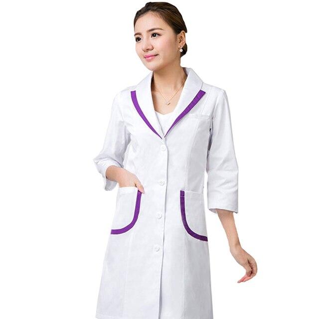Uniformes hospital nursing scrubs Medium Sleeve women Medical gown Lab coat White coat Clothes for doctors
