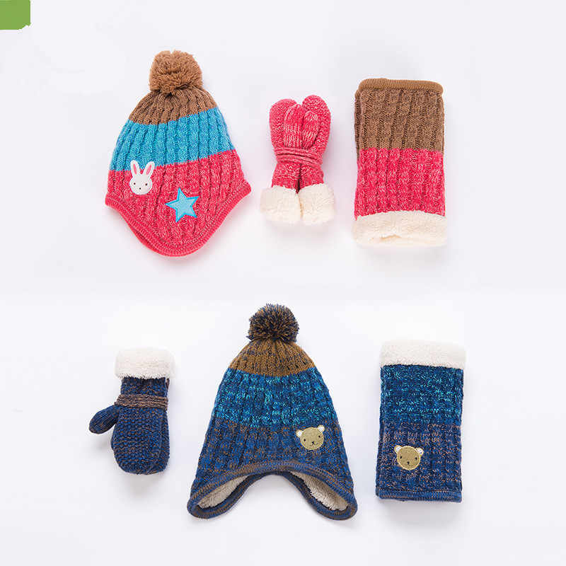 072460ae55627 ... Children hats scarf gloves three - piece warm autumn winter boys girls baby  caps collars sets ...