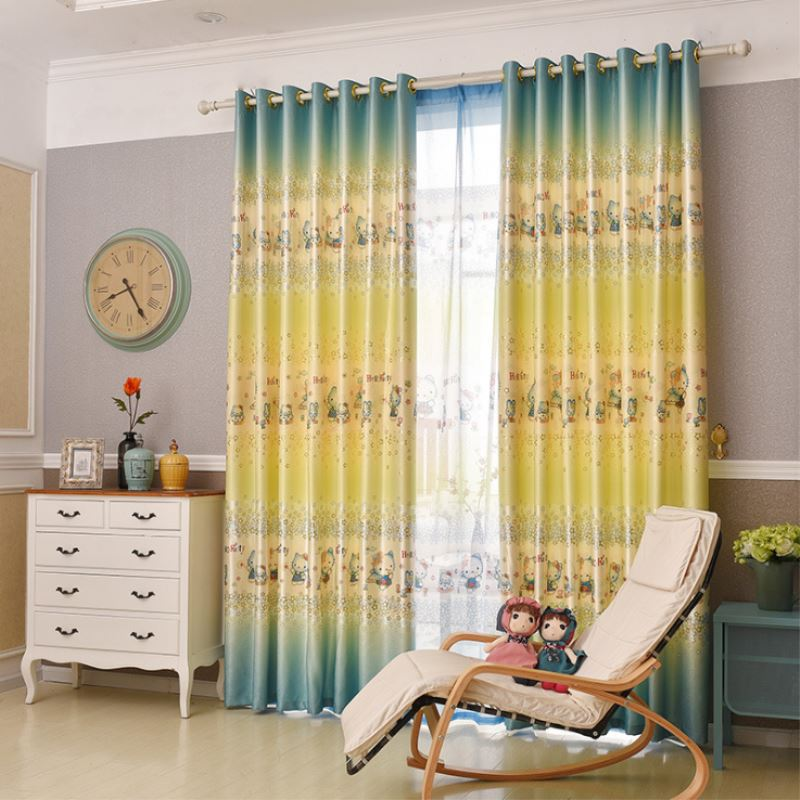 13525m children blackout curtains kids printing cat curtains for girl room baby room - Blackout Shades Baby Room