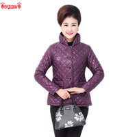Middle Age Women Cotton Clothing 2017 Winter New Large Size Thick Section Solid Color Single Breasted