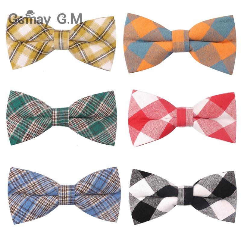 Plaid Cotton Bow Tie For Men Classic Shirts Bowtie For Business Wedding Bowknot Adult Mens Bowties Cravats Black Red Tie