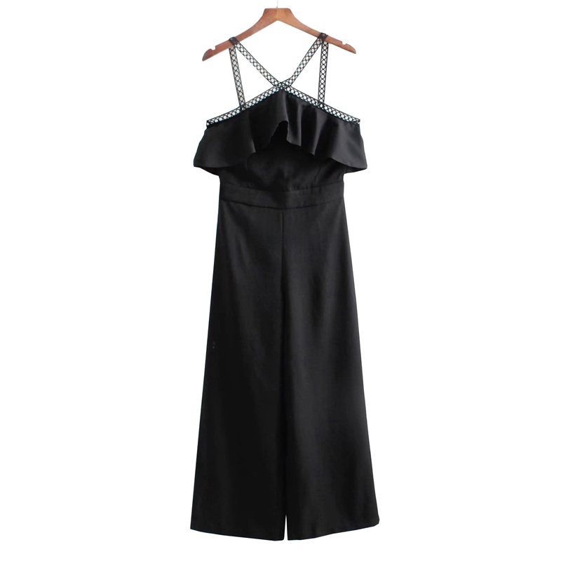 2018 Women Patchwork Laminated Ruffles Black Sling Jumpsuits Office Ladies Summer Style  ...