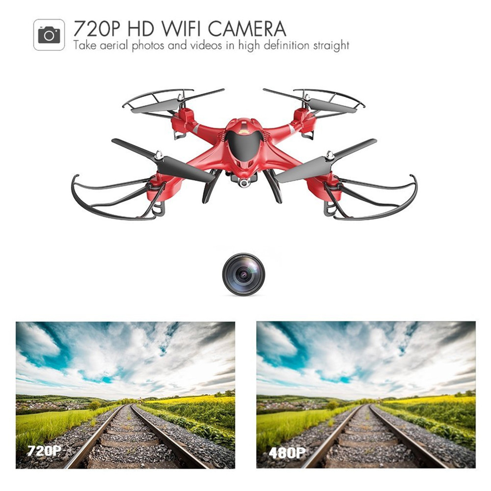 Holy Stone HS200 Red RC Drone with FPV HD Wifi Camera Live with Altitude Hold, Gravity Sensor and Headless Mode RTF Helicopter wltoys q393 radio control rc drone dron 5 8g fpv 5mp camera headless mode quadcopters flying helicopter with light rtf drones