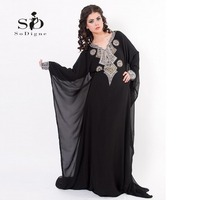 2014 New Fashion Baju Muslim Abaya Dubai Dress Black Blue Chiffon A Line Islamic Long Prom