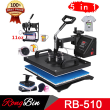 Double Display New Design 5 In 1 Combo Heat Press Machine Sublimation Heat Press Heat Transfer Machine For Mug Cap T shirt Phone