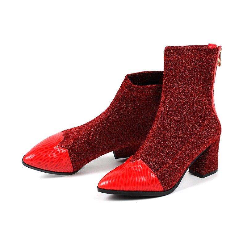 Cremallera Punta La 42 Mujeres red Casual Estiramiento 7 Chunky Rojo De Primavera Black Tobillo Moda Tamaño Tacones El 2019 Otoño Cm Botas Zapatos Las Y Gran 41 vqvawS0r