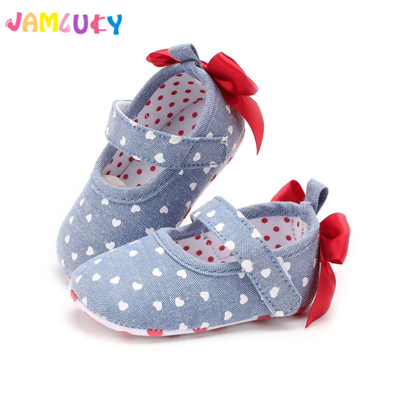 Baby Girl Shoes First Walkers Spring Big Bow Red Heart Baby Footwear For Newborn Crib Shoes Soft Soled Toddler Baby Girl Shoes