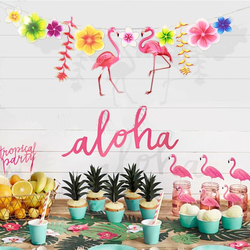 Paper Flag Hawaiian Tropical Flamingo Leaves Cactus Banner