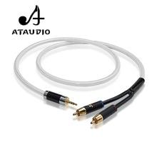 ATAUDIO ハイファイ 3.5 ミリメートルに 2RCA ケーブルハイエンド銅と銀メッキ 3.5 Aux デュアル RCA オーディオケーブル