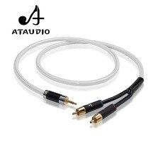 "ATAUDIO Hifi 3.5 מ""מ כדי 2RCA כבל Hi end נחושת וכסף מצופה 3.5 Aux לdual RCA אודיו כבל"