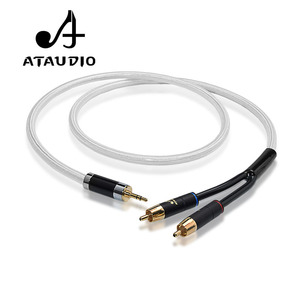 Image 1 - ATAUDIO Hifi 3.5mm to 2RCA  Cable Hi end Copper and Silver plated 3.5 Aux to Dual  RCA Audio Cable