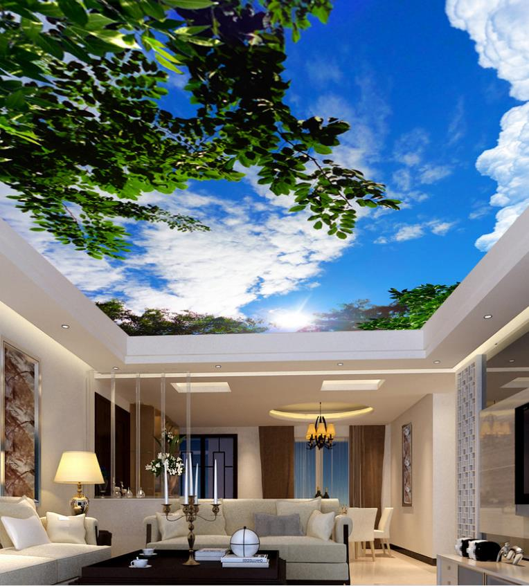 Custom Wall Murals White Clouds Green Leaves Ceiling Murals Wallpaper Living Room Nonwoven-Wallpaper 3D Ceiling	Home improvemen custom ceiling wallpaper blue sky and white clouds murals for the living room apartment ceiling background wall vinyl wallpaper