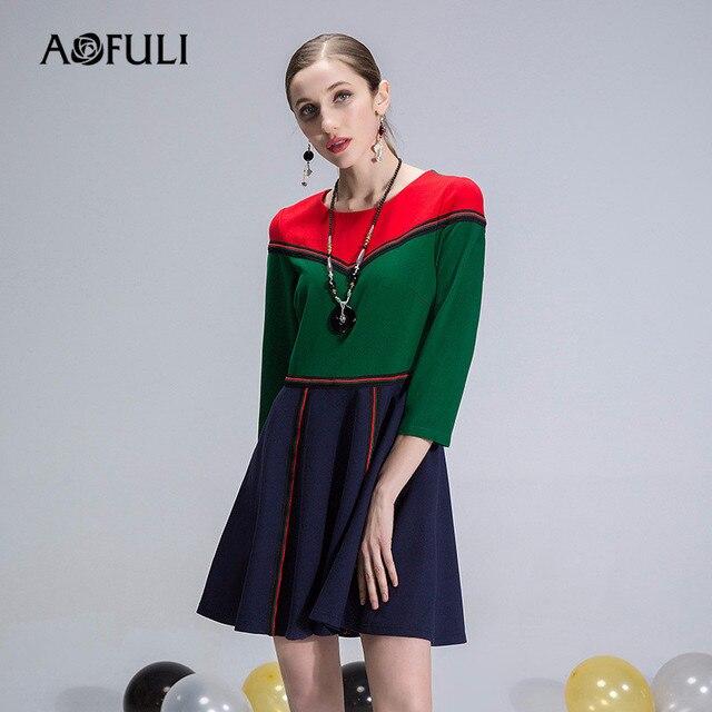 AOFULI Brand XL- XXXXL 5XL Plus size dress 2018 Spring Women 3 4 sleeve  Ethic Designer Patchwork Office Ladies Vintage Dresses 3e7900f0a46e