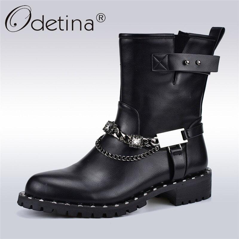 Odetina automne hiver nouvelle mode Rock bottes pour femmes carré talon bas côté Zipper Punk bottes avec chaîne en métal femmes bottines