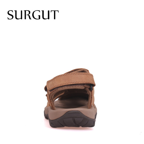 SURGUT Brand New High Quality Men Genuine Leather Sandals Breathable Comfortable Cozy Summer Shoes Fashion Flat Male Sandals Islamabad