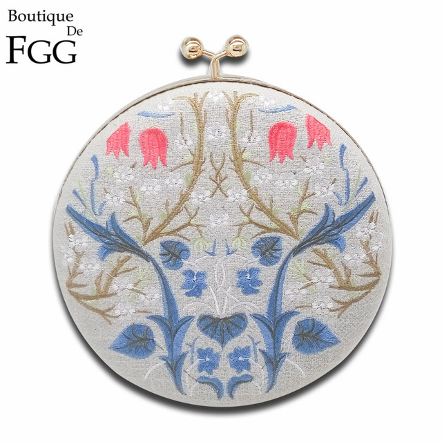 Round Circular Gray Canvas Embroidery Flower Gold Evening Clutch Bags Women Metal Clutches Handbags Ladies Wedding Party Purse