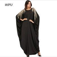 Oversized bat sleeve Abaya Muslim women Ramadan clothing Fashion Beading Applique metal color design Dubai Arab clothes